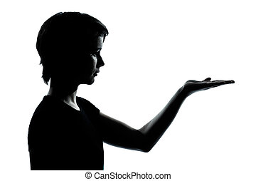 one young teenager boy or girl silhouette empty hands open -...