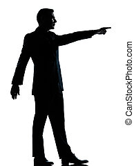 one business man poiting  silhouette