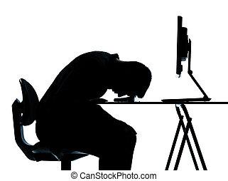 um, negócio, homem, silueta, computador, computando,...