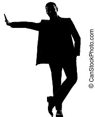 one business man silhouette - one caucasian business man...