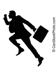 one business man jumping running silhouette - one caucasian...