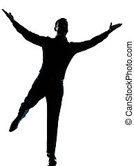 one business man happy spreading arms silhouette - one...