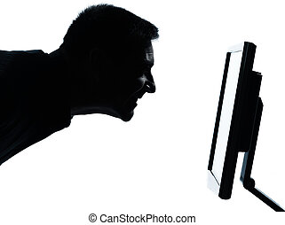 one business man face silhouette with computer screen display