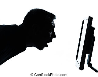 one caucasian business man face silhouette with computer...
