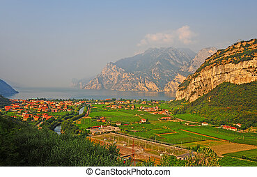 Lago Di Garda - Landscape With The Lake Lago Di Garda, Italy...