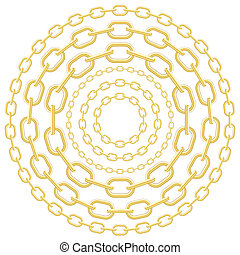 Gold circle chains isolated on white background. Vector...
