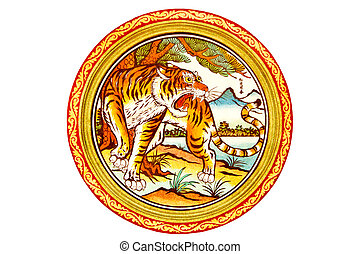 tiger painting on mable wall in chinese temple on white Background
