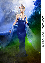 E.T. lady in space - attractive stunning woman with a long...