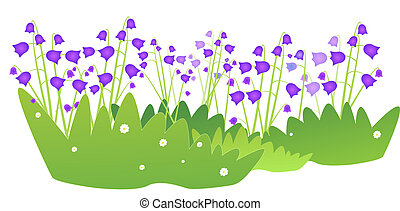 bluebell - illustration with bluebells, flower, bell, lilac,...