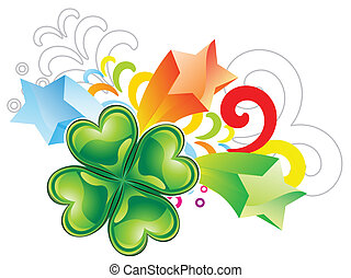 abstract st patrick clover explode vector illustration