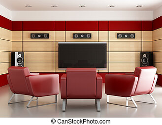 elegan home cinema room - home cinema with wooden panels and...