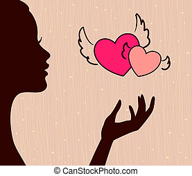 beautiful girl silhouette with hearts