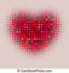 Red color halftone heart shape