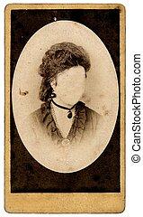 vintage woman portrait without a face