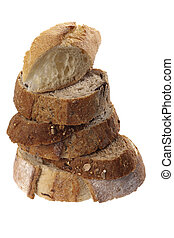 artisan bread slices - pile of olive,garlic and multigrain...
