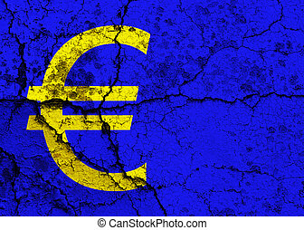 Cracked Euro symbol - Euro symbol on a cracked grunge...