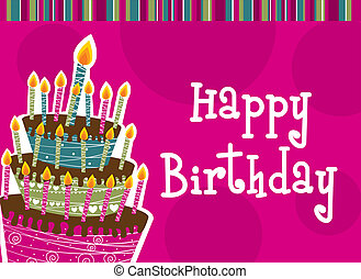 happy birthday with cake card vector illustration