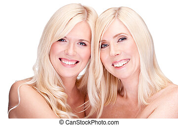 mother and daughter - natural beauty concept, over white