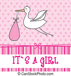 it?s a girl with stork , baby shower. vector illustration