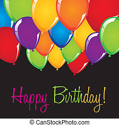 happy birthday card with balloons over black background....