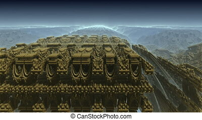 alien ancient architecture - 3D particle motion background