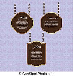 wooden sign hanging over violet background. vector...