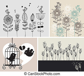 background with birds and flowers
