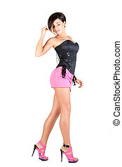 young model in sexy outfit - young model in pink mini skirt...