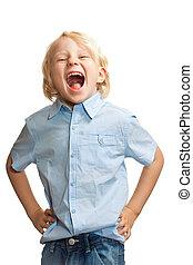 Cute boy screaming
