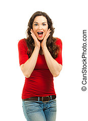Portrait of beautiful surprised woman - Isolated potrait of...