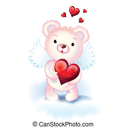 sweet cupid bear - cute pink cupid bear with wings and red...