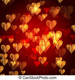 golden red hearts background - golden red hearts over red...