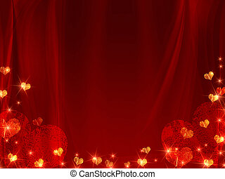 background with golden and red hearts - golden red hearts...