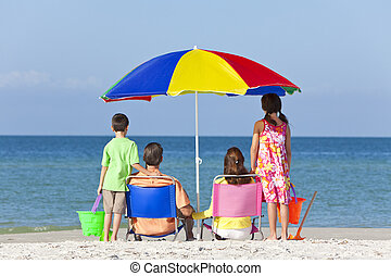 Mother Father Daughter Son Parents Children Family on Beach...