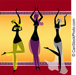 three oriental girls dancing - on abstract background are...
