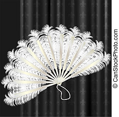 white feathers fan - on a dark background is old white...