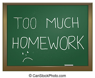 Homework stress. - Illustration depicting a green chalk...