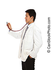 Young Asian doctor with stethoscope - Young doctor with...