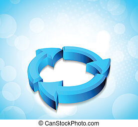 3d arrows on background in blue color