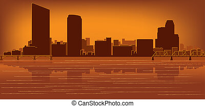 Grand Rapids, Michigan skyline with reflection in water