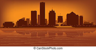 Milwaukee, Wisconsin skyline with reflection in water