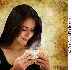Beautiful young woman drinking coffee - Beautiful young...