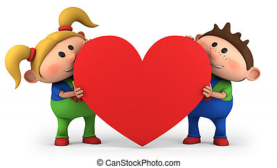 kids with heart - cute little boy and girl holding a red...