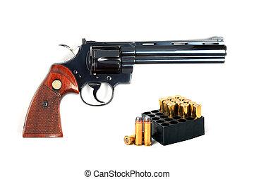 isolado,  357,  revólver, munições