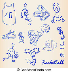 Hand Drawn Basketball Icon Set - hand drawn basketball icon...