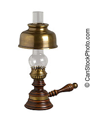 Antique oil lamp, isolated on white