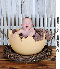 sweet baby sitting in giant egg - sweet baby happily sitting...