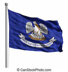 Flag of Louisiana Rendered with fabric texture visible at...