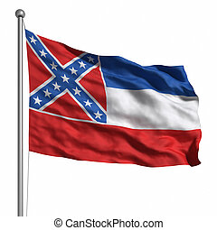 Flag of Mississippi Rendered with fabric texture visible at...