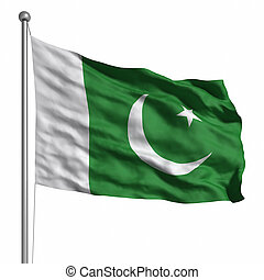 Flag of Pakistan. Rendered with fabric texture (visible at...